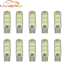 10X Car LED T10 510 W5W DC 12V Canbus 6SMD Silicone shell LED Tail Lights Bulb No Error Parking Fog light Auto Car Wedge Lamp 1pcs t10 5050 6smd led car canbus no error width license plate light bulb tail side turn signal lamp super bright orange lights