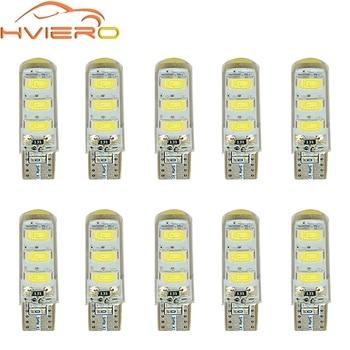 цена на 10X Car LED T10 510 W5W DC 12V Canbus 6SMD Silicone shell LED Tail Lights Bulb No Error Parking Fog light Auto Car Wedge Lamp