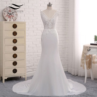 Beach Style Backless Sexy Chiffon Chapel Train Long Cap Sleeves Wedding Dress Mermaid Real Photos Bridal