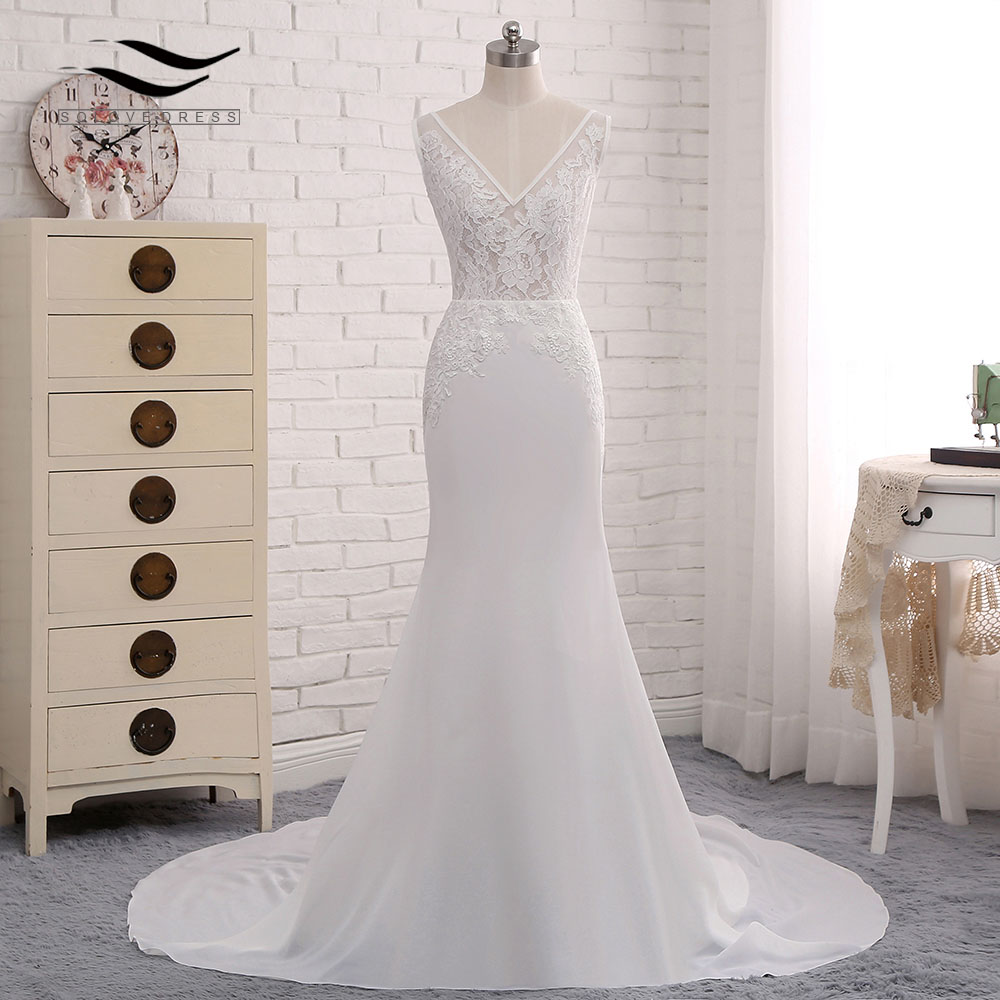 Beach Style Backless Sexy Chiffon Chapel Train Long Cap Sleeves Wedding Dress Mermaid Real Photos Bridal Gown 2018 SLD-W593