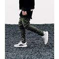 Мужской хип-хоп стороны молнии брюки повседневная карманы эластичный пояс тонкий fpencil ноги брюки сгиба