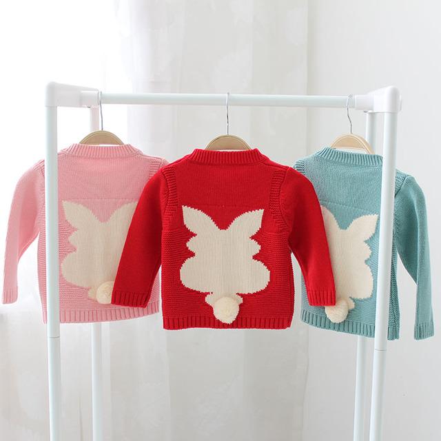2017 primavera y otoño suéter de los niños niñas de dibujos animados lindo conejo cardigan bebé suéter suéter de manga larga rojo rosa verde