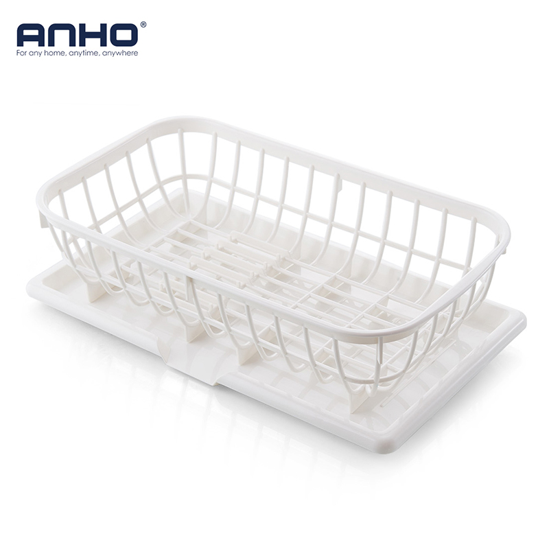 ANHO Dish Rack Kitchen Sink Plate Drying storage Basket Plastic Washing Fruits Holder with Tray Drain Bowl Cup Organization Home