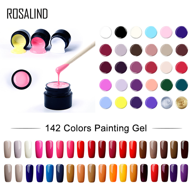 ROSALIND Nail Art UV Gel DIY Paint 142 Colors Soak Off Nails Gel Polish Design Manicure Nail Painting Color Gel Lacquer Varnis