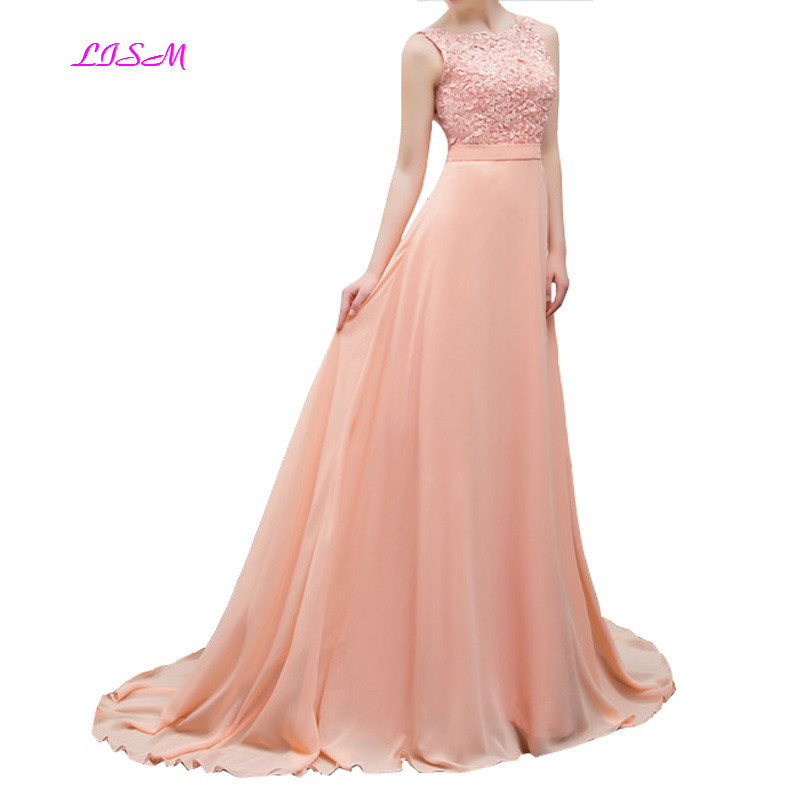 Peach Applique Chiffon Long   Bridesmaid     Dresses   O-Neck Sleeveless Women   Dress   for Wedding Party Vestido Longo Elegant Prom Gowns