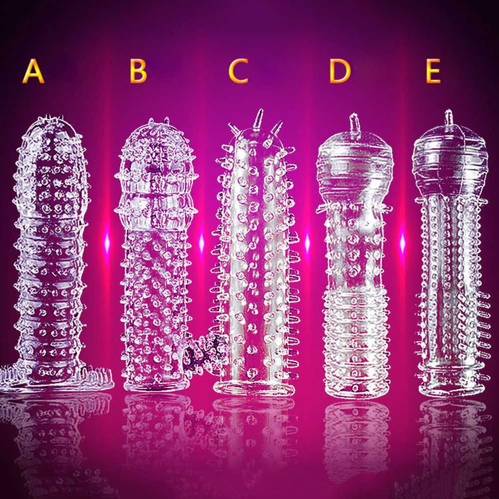 Silikonowe Spike kropkowane żebrowane jasne prezerwatywy Penis rozszerzenia rękawem dorosłych Sex zabawki