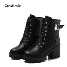 Cresfimix botas femininas botas mulheres de rua ocasional preto pu leather lace up botas legais femininos confortáveis botas botas de senhora bonito c2840