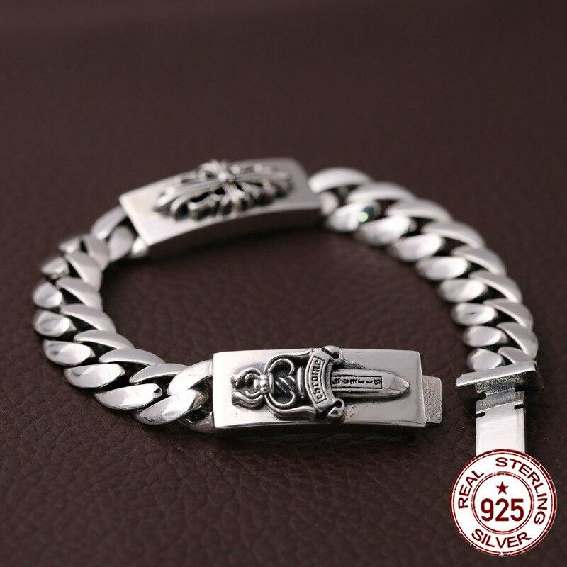 S925 sterling argent hommes de bracelet personnalité de mode classique bijoux rétro punk style dominateur poignard forme 2018 nouveau cadeau