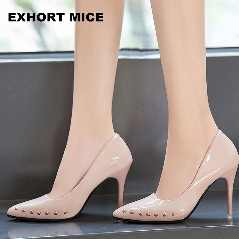 2018 Spring And Autumn Korean Women's Nude Color High Heels Pointed Shallow Mouth Sexy Wedding Pumps Professional Work Shoes 9cm 14cm sexy fine with nightclub shiny diamond high heels spring and autumn shallow mouth princess wedding shoes
