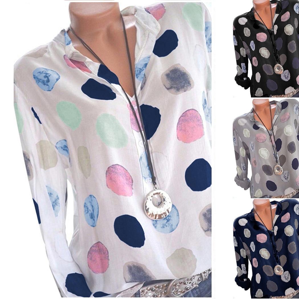 Plus Größe Frauen Tops Und Blusen Dot Gedruckt Langarm Damen Büro Shirts Frühling Sommer Sexy V-ausschnitt Lose Bluse Blusas