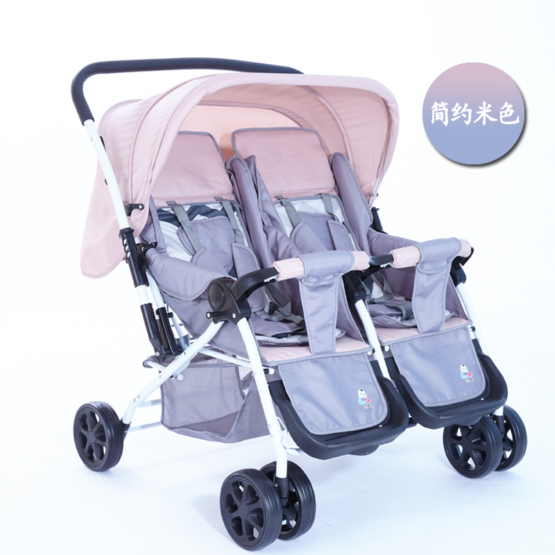 Twins Baby Stroller Folding Reverse Push Handle Double Stroller for Twins Infant Baby Carriage Can Sit Lie Travel System Pram