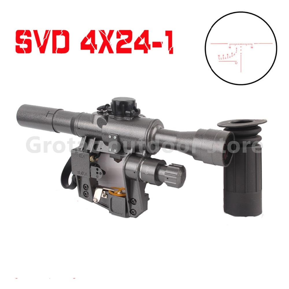 Hunting Sports & Entertainment New 4x24-1 Svd Shooting Military Rifle Scope Fit Ak 47 74 Illuminated Red Gun Sight For Real & Airsoft