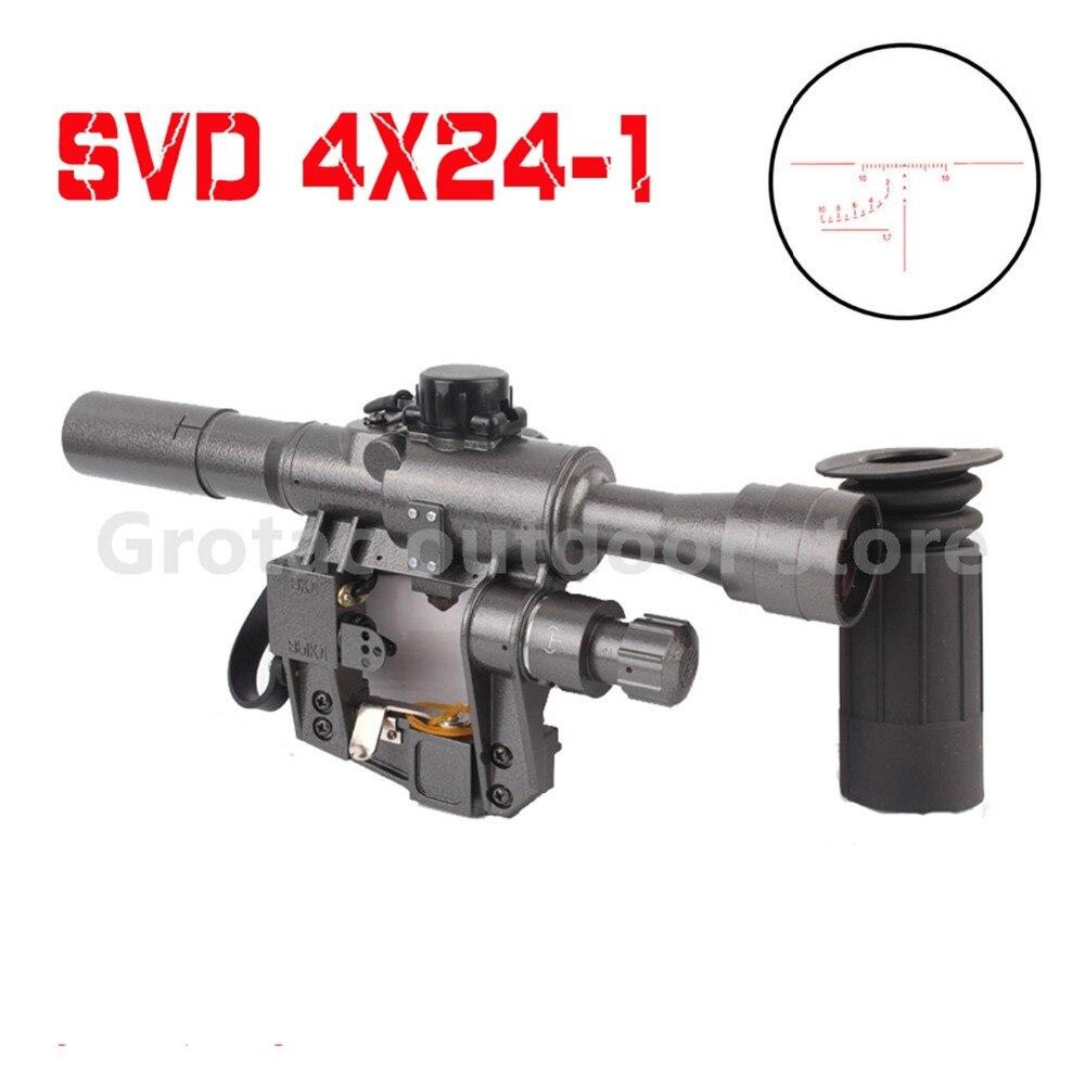 Nouveau 4x24-1 SVD tir portée de fusil militaire Fit AK 47 74 illuminé rouge pistolet vue pour réel et Airsoft