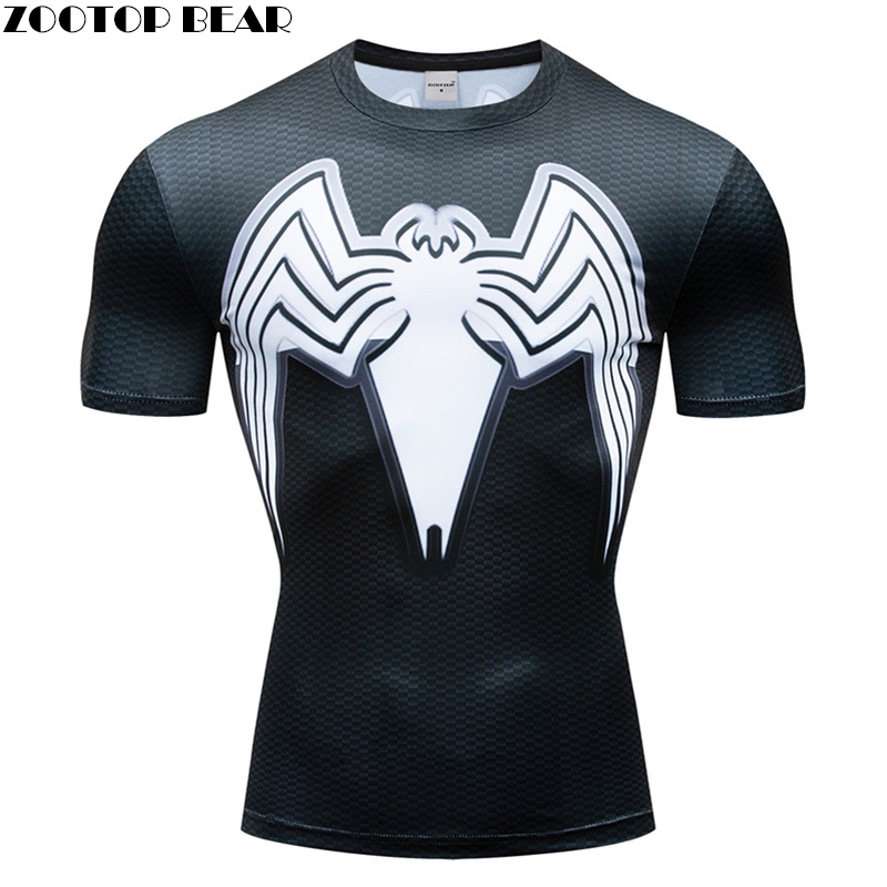 2019 Quick Dry Compression Men's Short Sleeve T-Shirts Running Shirt Fitness 3D Spiderman Tennis Soccer Jersey Gym Sportswear