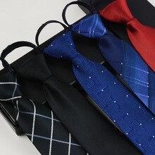 Модный галстук мужской галстук из полиэфирного шелка на молнии Галстуки удобные полосатые клетчатые gravata для мужчин галстук для жениха бизнес vestidos