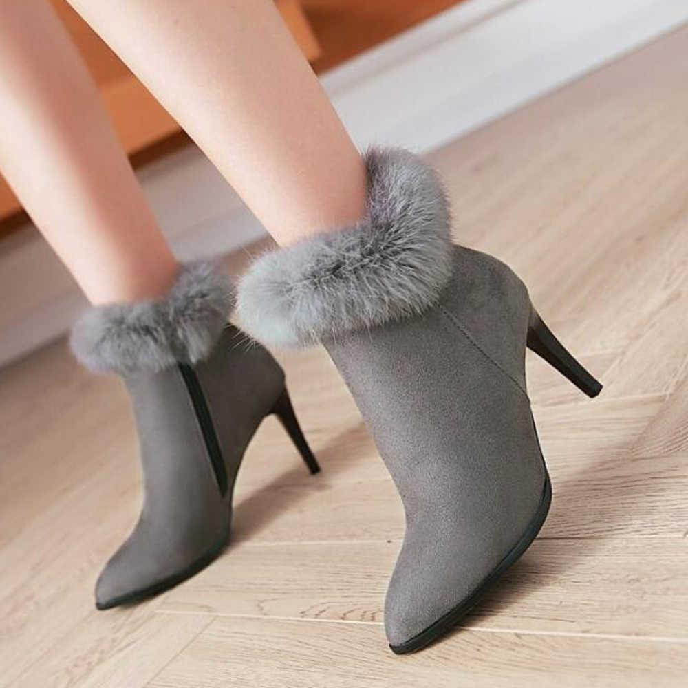 Meotina Kış Kadın yarım çizmeler Ince Yüksek Topuklu Çizmeler Ayakkabı Kürk Fermuar Stiletto Ince Topuklu kısa çizmeler Ayakkabı Siyah Gri Boyutu 43
