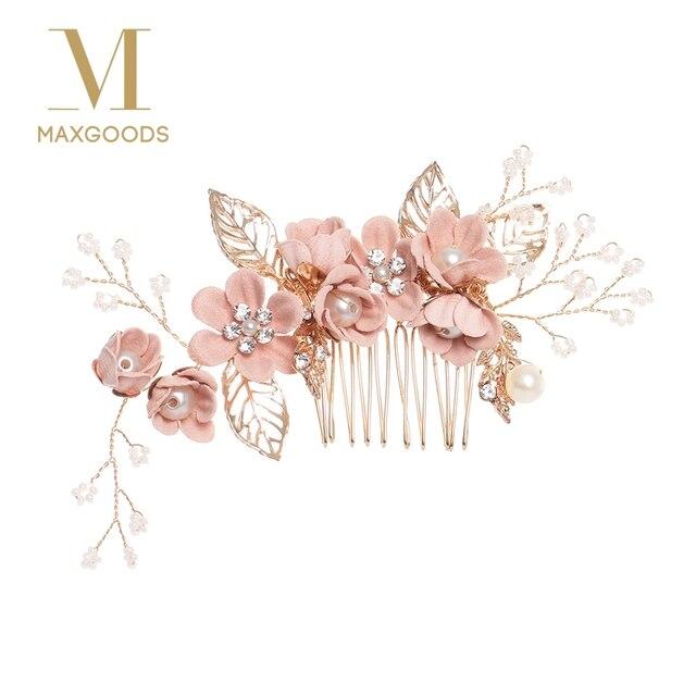 Sang trọng Màu Xanh Flower Tóc Combs Mũ Prom Bridal Wedding Phụ Kiện Tóc Vàng Lá Tóc Đồ Trang Sức Tóc Pins