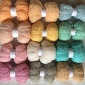 WFPFBEC DIY 70s 100% wool fiber mixture 12colors 10g/bag wool for needle felting handle tools set wool roving 120g