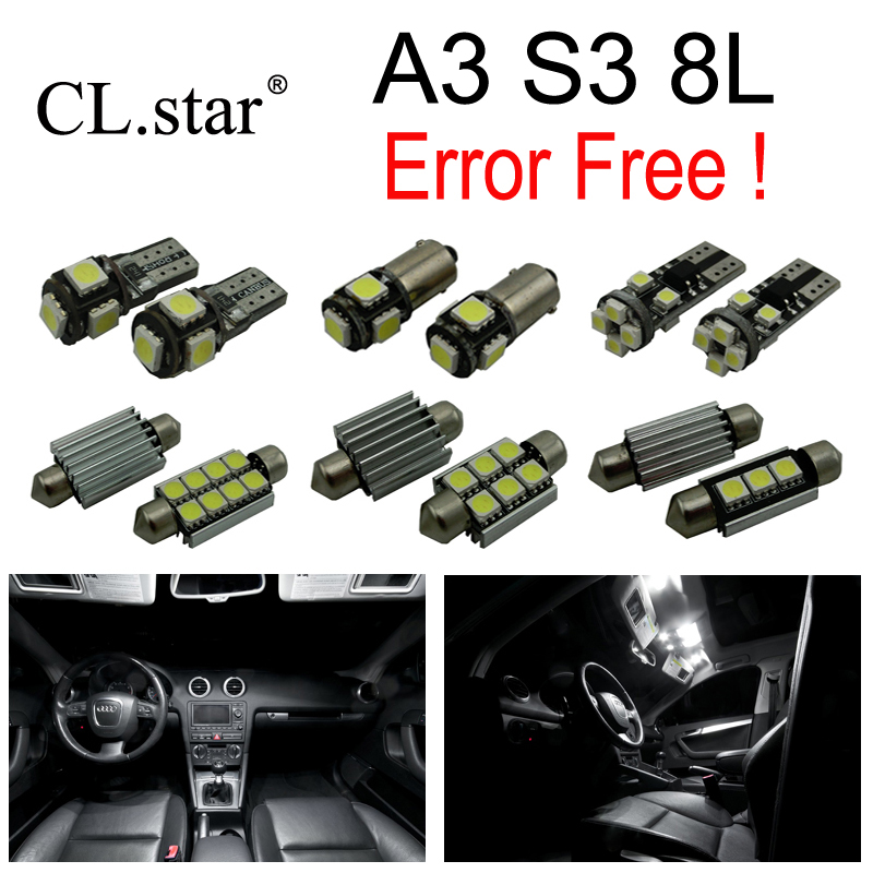 26pcs canbus error free LED bulb interior dome light kit package for Audi A3 S3 8L (1996-2003) 15pc x 100% canbus led lamp interior map dome reading light kit package for audi a4 s4 b8 saloon sedan only 2009 2015
