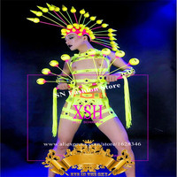 M87 Men ballroom dance stage costumes fluorescent green clothing bodysuit gogo performance dress show clothe bar perform wears