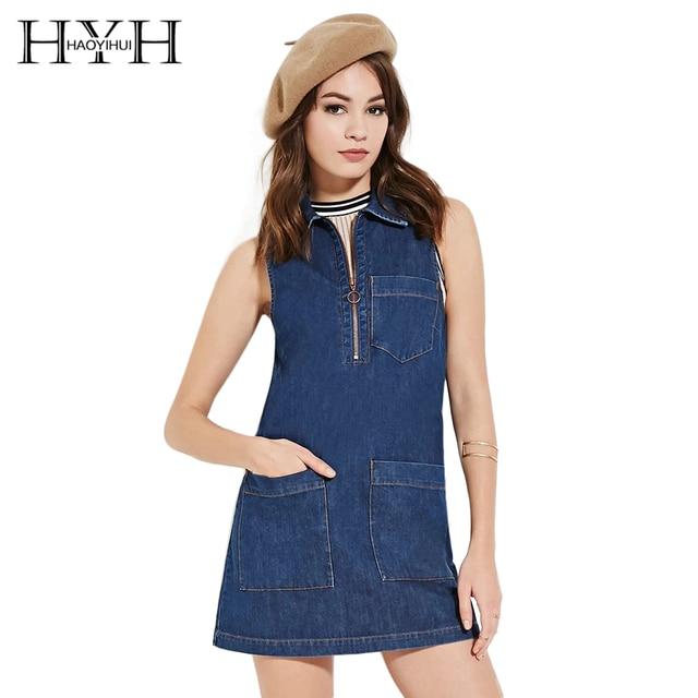 ea2f11435c3e5 HYH HAOYIHUI Solid Blue Women Dress Zipper Sleeveless Turn-down Collar  Casual Vestidos Streetwear Pockets