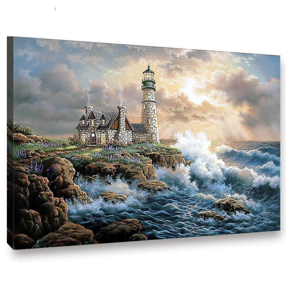 WEEN Dream Seaside Castle DIY Painting By Numbers,Modern Wall Art Picture,Oil Canvas Painting, Acrylic Paint,Unique Gift 40x50cm
