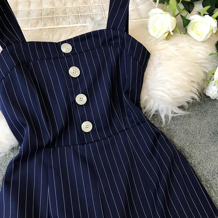 2019 Spring and Summer Korean New Stripe High Waist Open-back Jumpsuit Women Sleeveless Broad-legged Overalls G794 39