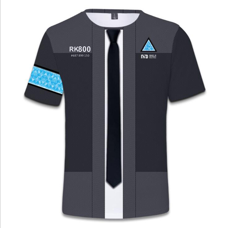 Game detroit become human 3D T Shirt Men Women detroit : become human connor RK800 Short Sleeve T-Shirt Male Tshirt Streetwear