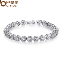 BAMOER 18K Gold Plated Princess Cut Chain Link Bracelet With AAA Cubic Zircon For Women Party