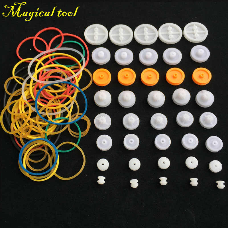 40pcs DIY Plastic Wheel Sets Pulley With Belt Rubber Band For Toy Model Car Plane Ship For DIY Accessories Scientific Experiment