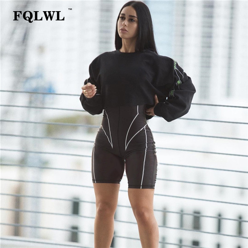 FQLWL Letter Print Long Sleeve Sexy Rompers Womens   Jumpsuit   Short Zipper Fitness Black Bodycon Female   Jumpsuit   Playsuit Women