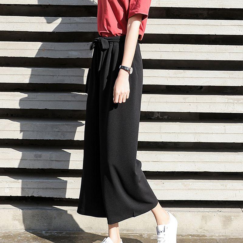 Pleated Wide Legged PantsHigh Waist Tie Pants Female Straight Fashion Pants