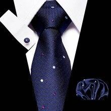 New Polka dot men ties set Extra Long Size 145cm*8cm Necktie navy blue Printed Silk Jacquard Woven Neck Tie Suit Wedding Party