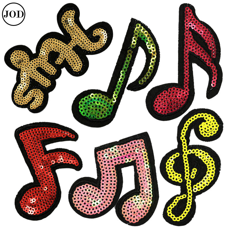 Music Note Patches Sequin Applique Clothes Iron On Patch Embroidery DIY Stickers for Clothing Badge Applications Decoration Одежда