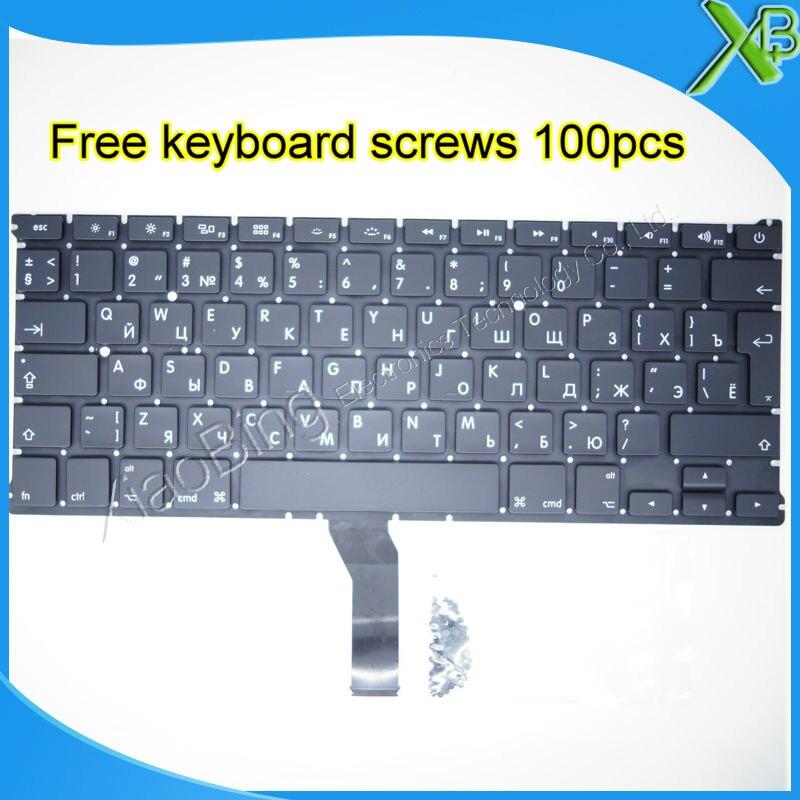 Brand New RU Russian keyboard+100pcs keyboard screws 2010-2015 Years For MacBook Air 13.3 A1369 A1466 russian ru new laptop keyboard for macbook air 13a1466 a1369 keyboard md231 md232 mc503 mc504 2011 15 years