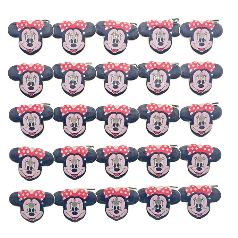 25PCS LED Minnie Brooch Button Pin Holiday DIY Children Birthday Decoration Gift Cartoon Led Glow Mini Brooches Party Supplies