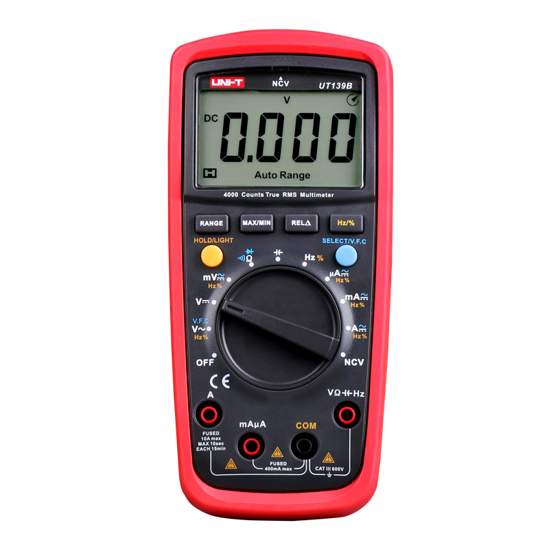 UT139B 4000 CountsTrue RMS Digital Multimeter Auto Range AC/DC Amp/Volts Ohm,Data Hold, NCV,LCD Backlight Diode Test lcd мини auto range ac dc карманный цифровой мультиметр вольтметр тестер инструмент
