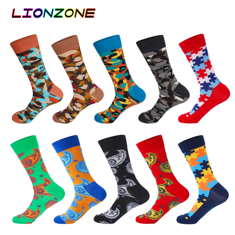 10 Pairs/Lot Men Socks Combed Cotton Brand Battle Colored Totems Block Design Fu