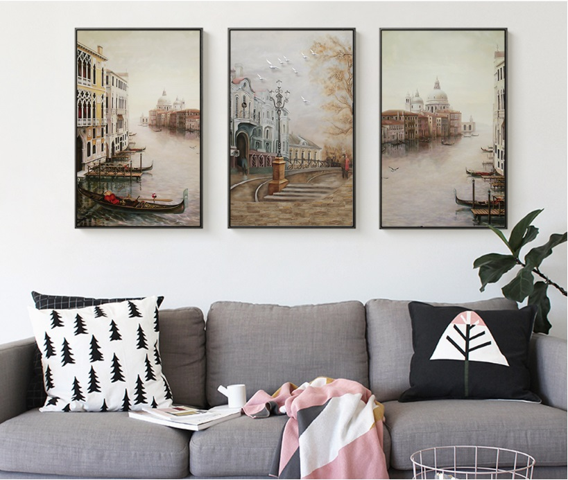 HTB136k9hTnI8KJjy0Ffq6AdoVXap Water City Landscape Canvas Paintings Modular Pictures Wall Art Canvas for Living Room Decoration No Framed