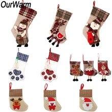 OurWarm New Year 2020 Christmas Stockings Reindeer Snowman Santa Claus Socks Plaid Gift Bags Xmas Tree Ornaments