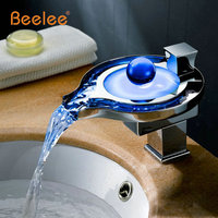 Led Bathroom Faucet Brass Chromed Waterfall Bathroom Basin Faucets 3Colors Change Led Tap Water Power Basin led Mixer Led Faucet