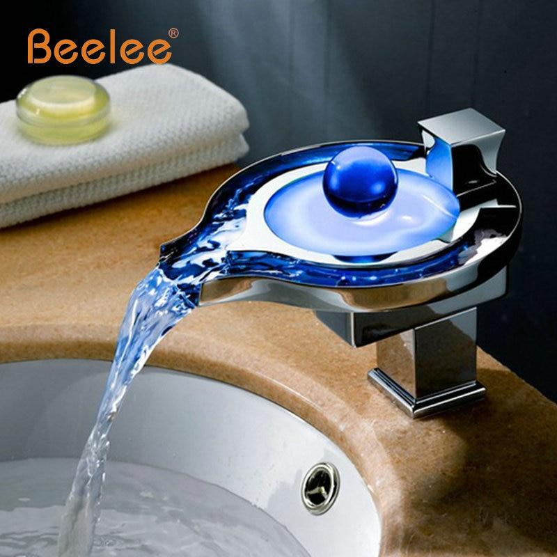 Led torneira do banheiro de bronze cromado cachoeira banheiro bacia torneiras 3 cores mudança led água bacia led mixer led