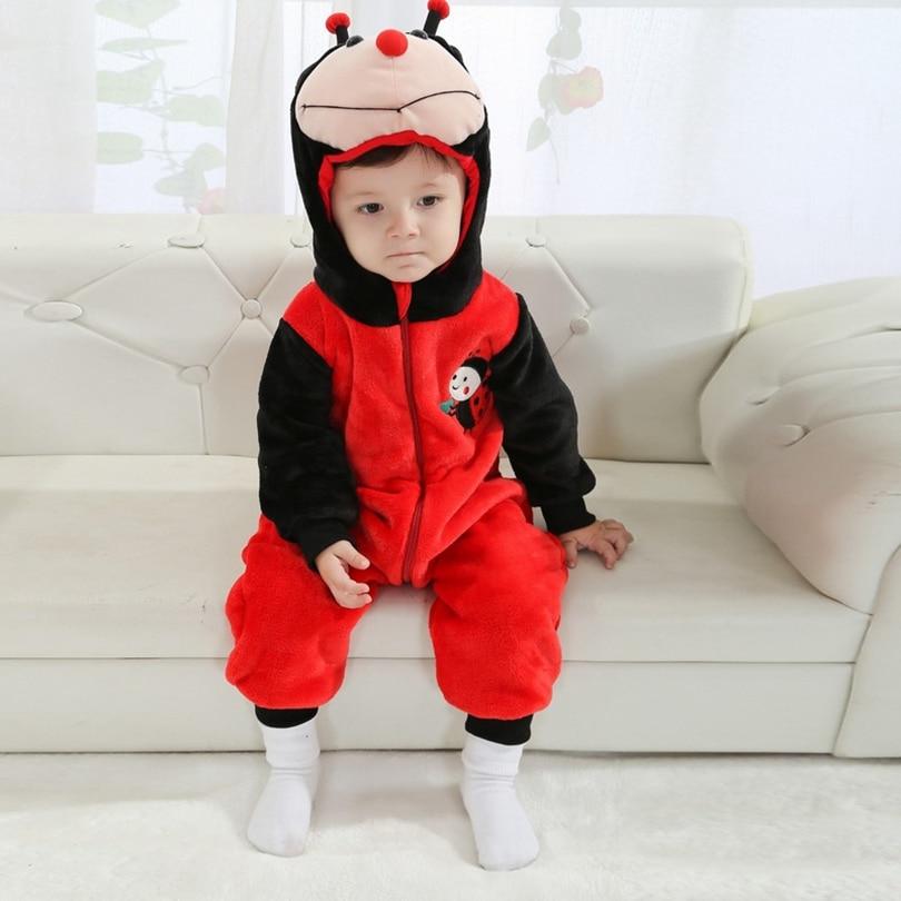 Pagliaccetti del bambino Della Ragazza del Ragazzo Incappucciato Animale Cosplay Costume Neonato Tuta Infantile Vestiti coccinella