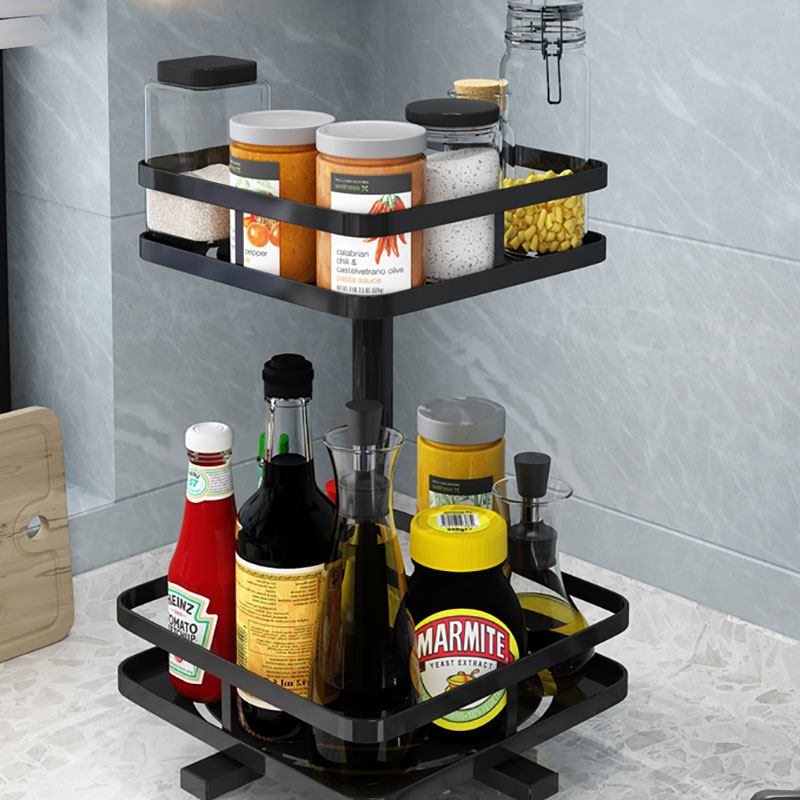 Metal Spice Rotatable Non folding Rack Cooking Sauce Vinegar Seasoning Household Receive Supplies Utensils Rotary Double