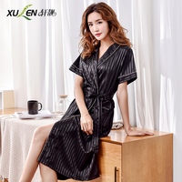 Women summer robe silk sleepwear sexy sleep and lounge saitin dressing gown plus size home wear mother bathrobe