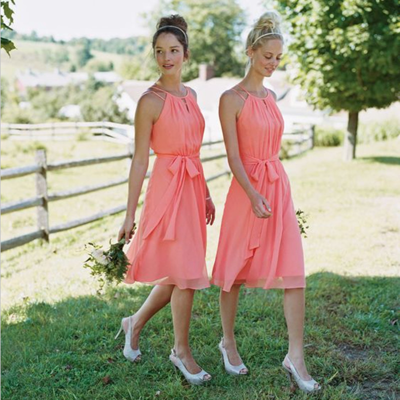 e45fa2a722cb2 Summer Coral Colored Short Bridesmaid Dress Knee Length Robe Demoiselle  d'honneur Courte Graduation Dress-in Bridesmaid Dresses from Weddings &  Events on ...