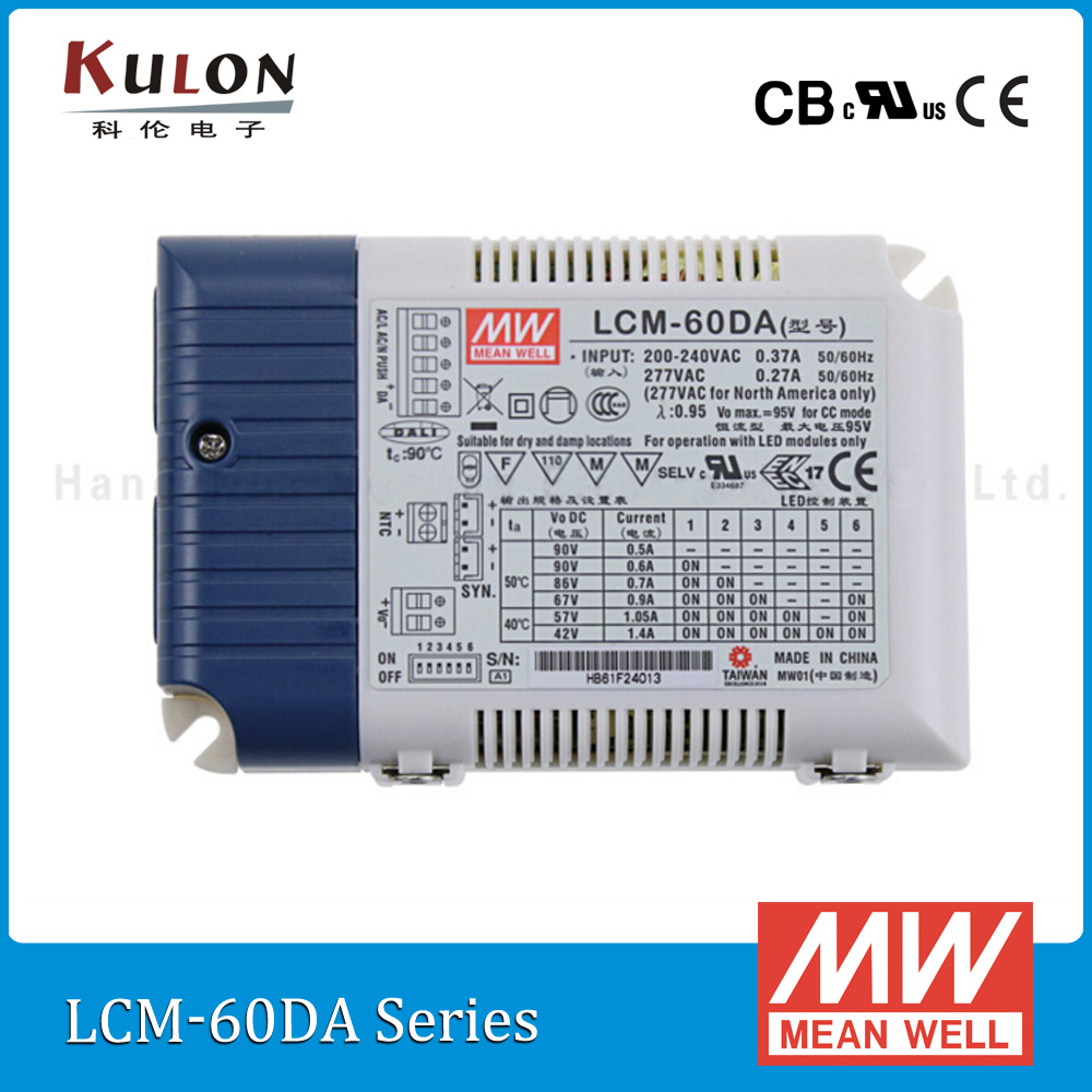 Original Mean Well Lcm 60da 60w Multiple Stage Constant Current Arduino Camping Led Light With Dimmer Driver Push Dimming Dali Interface