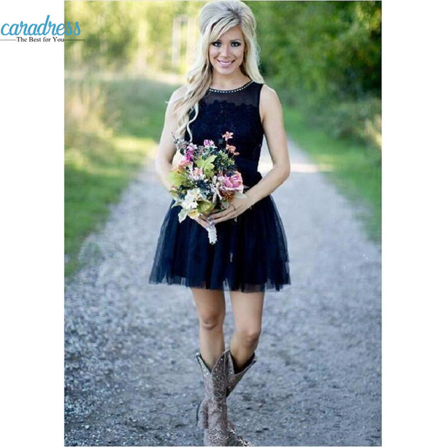 dc78752a617d Vintage Country Short Bridesmaid Dresses 2017 New Lace Appliques Navy Blue  Sheer Jewel Neck Plus Size Mini Prom Gowns for Girl