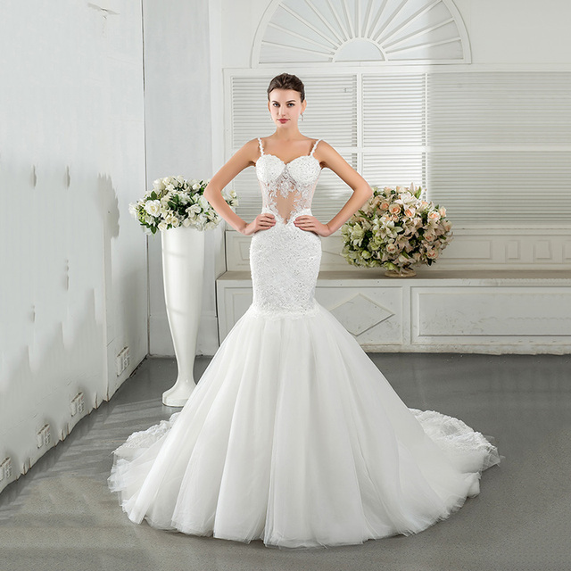 Women 2016 Real Sample Mermaid Wedding Dresses See Through Backless Sweetheart Sequins Puffy Tulle Skirt