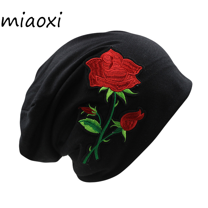 [miaoxi] Good Sell Women Beanies Fashion Floral Rose Love Hat Cap For Girl Beauty Spring Winter Bonnet Ladies Cotton Beanies